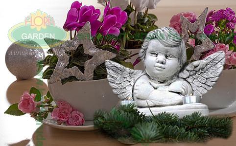 Karácsonyi angyalka virágok közt