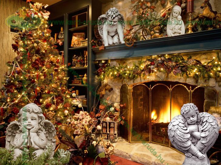 Angyalok és karácsonyfa